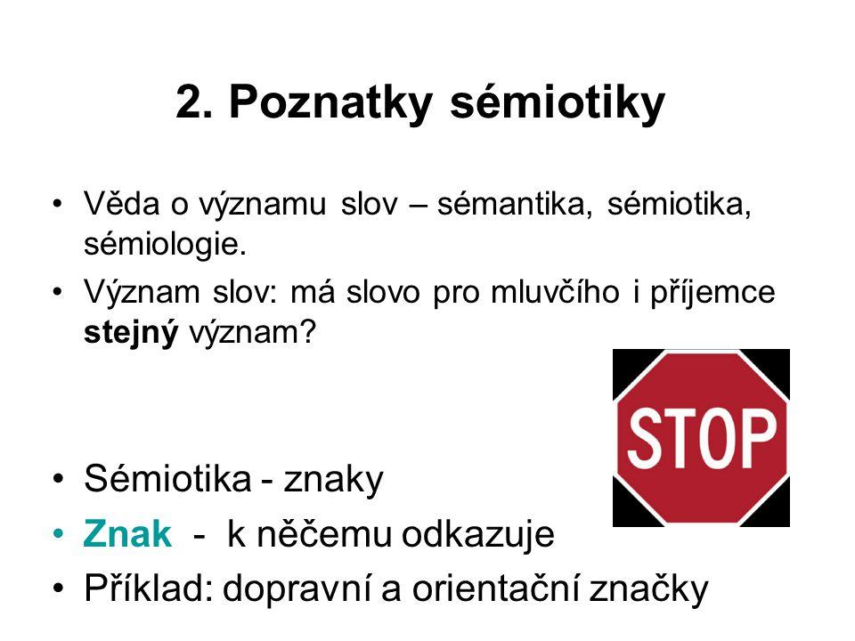 2. Poznatky sémiotiky Sémiotika - znaky Znak - k něčemu odkazuje