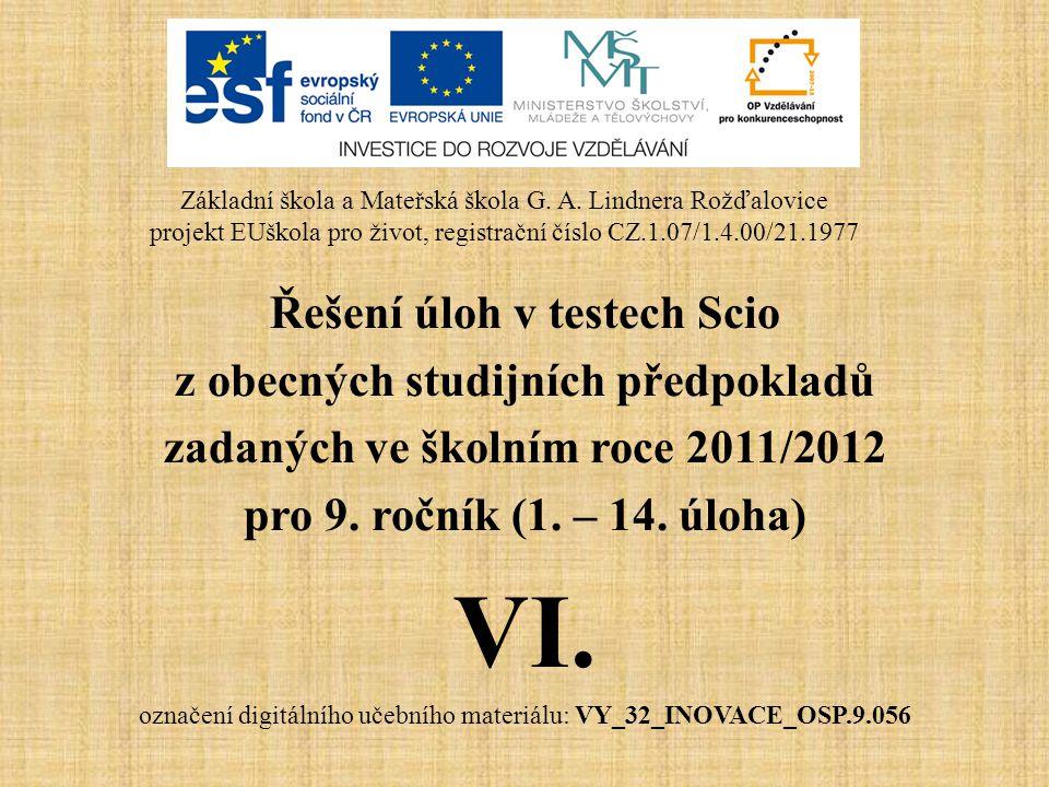 VI. Řešení úloh v testech Scio z obecných studijních předpokladů