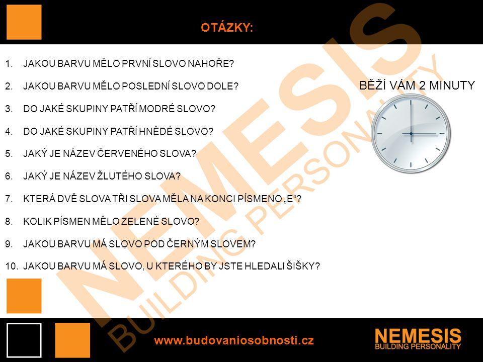 OTÁZKY: BĚŽÍ VÁM 2 MINUTY www.budovaniosobnosti.cz