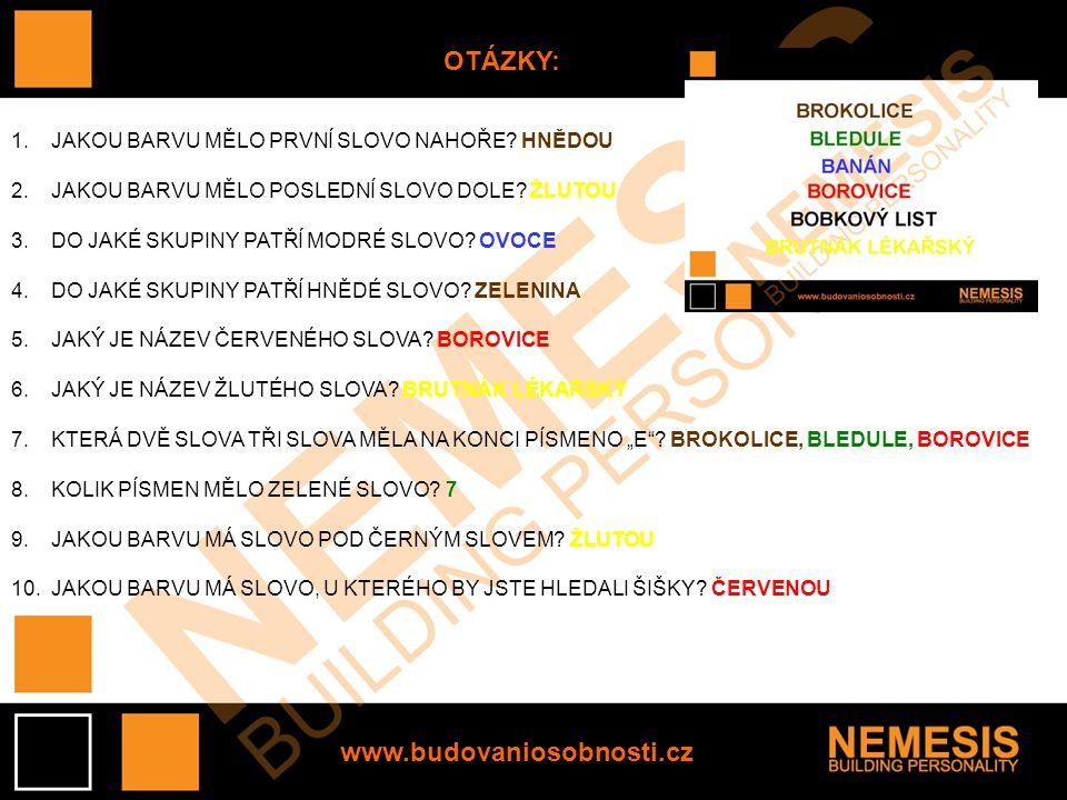 OTÁZKY: www.budovaniosobnosti.cz