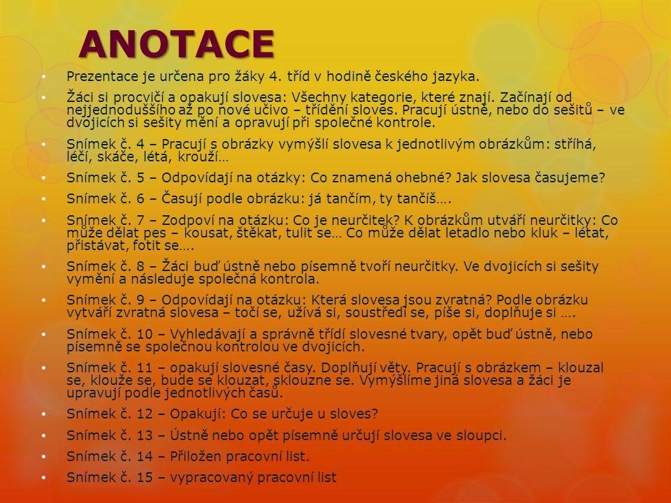 ANOTACE Prezentace je určena pro žáky 4. tříd v hodině českého jazyka.