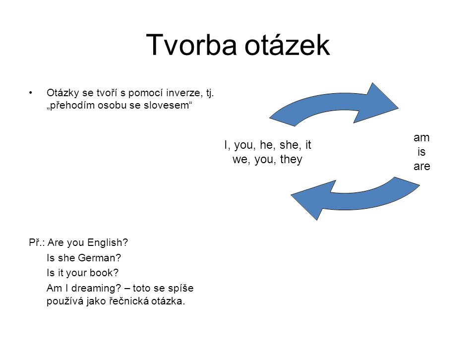 """Tvorba otázek Otázky se tvoří s pomocí inverze, tj. """"přehodím osobu se slovesem Př.: Are you English"""