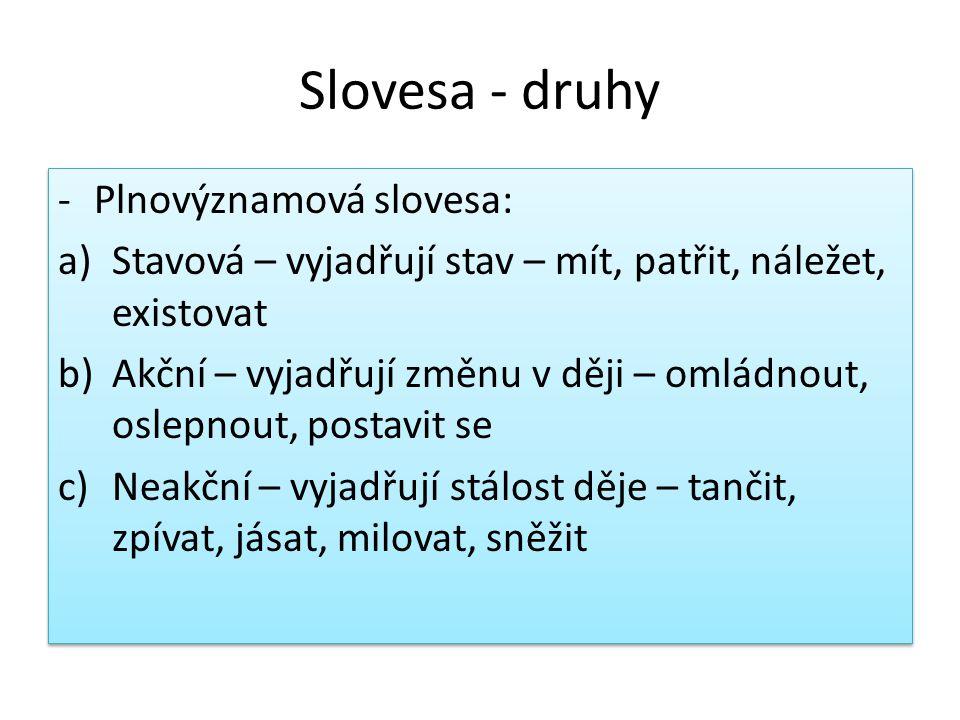 Slovesa - druhy Plnovýznamová slovesa: