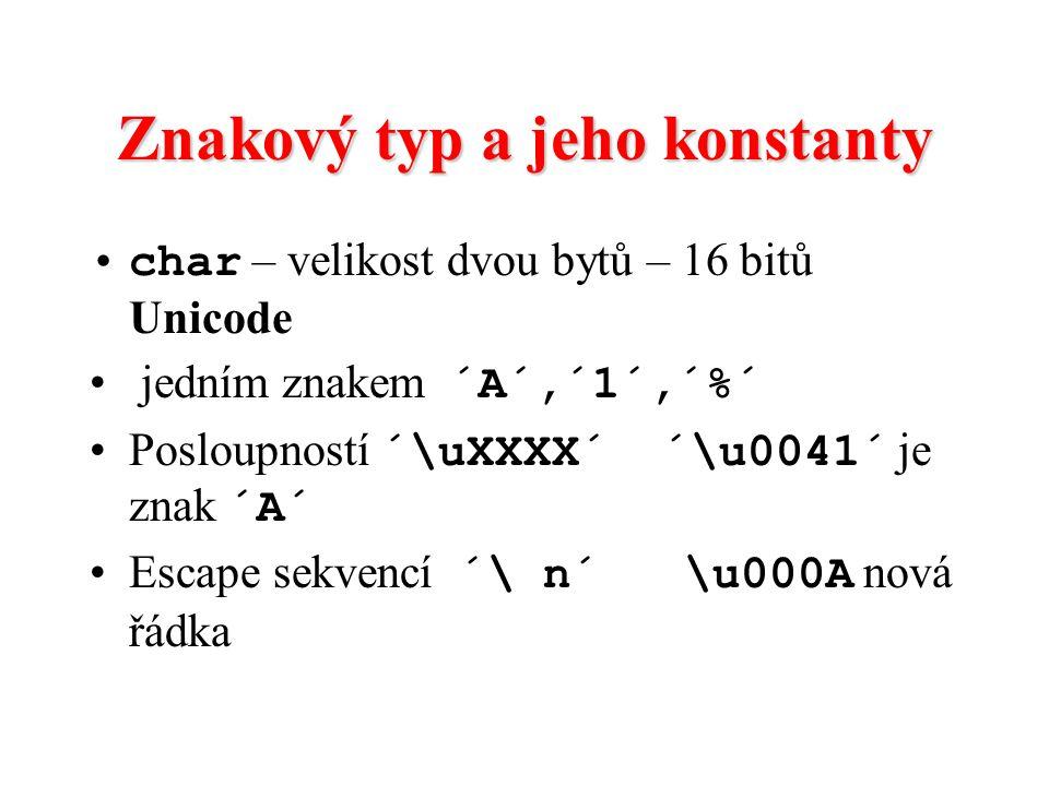 Znakový typ a jeho konstanty