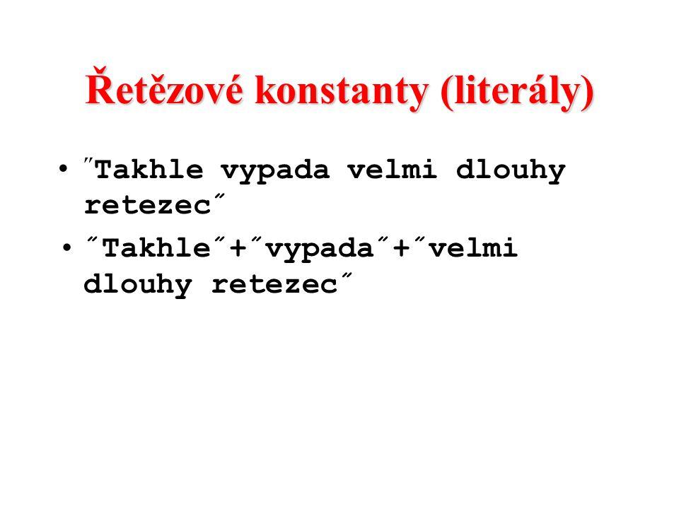 Řetězové konstanty (literály)