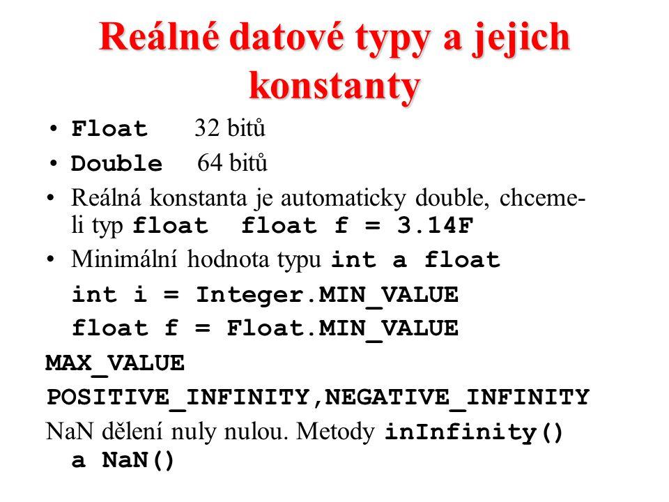 Reálné datové typy a jejich konstanty