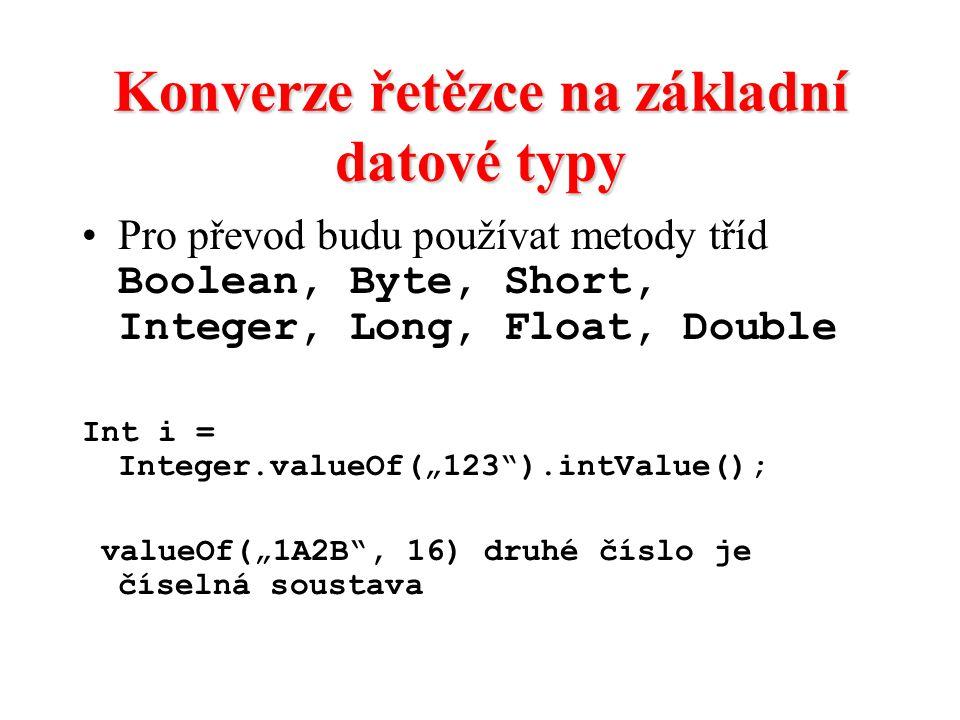 Konverze řetězce na základní datové typy
