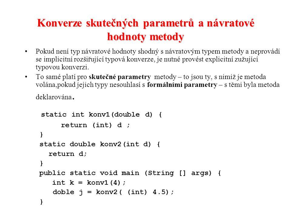 Konverze skutečných parametrů a návratové hodnoty metody
