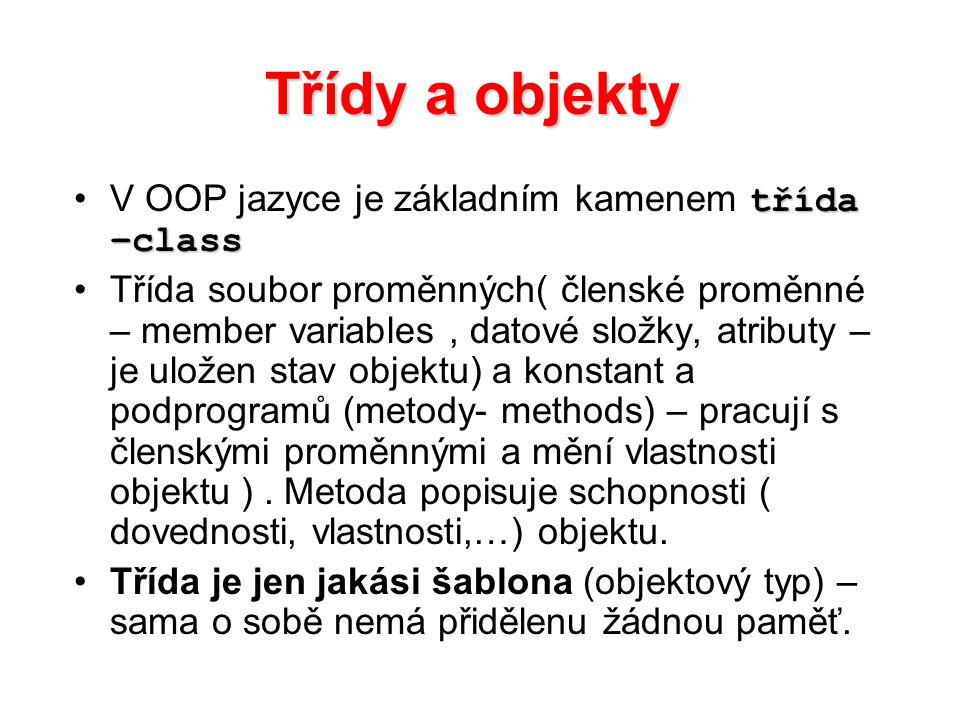 Třídy a objekty V OOP jazyce je základním kamenem třída –class