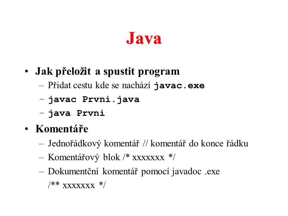 Java Jak přeložit a spustit program Komentáře