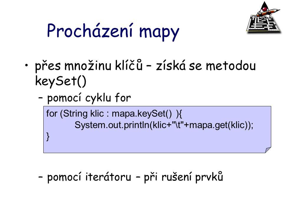 Procházení mapy přes množinu klíčů – získá se metodou keySet()