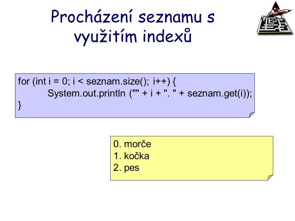 Procházení seznamu s využitím indexů