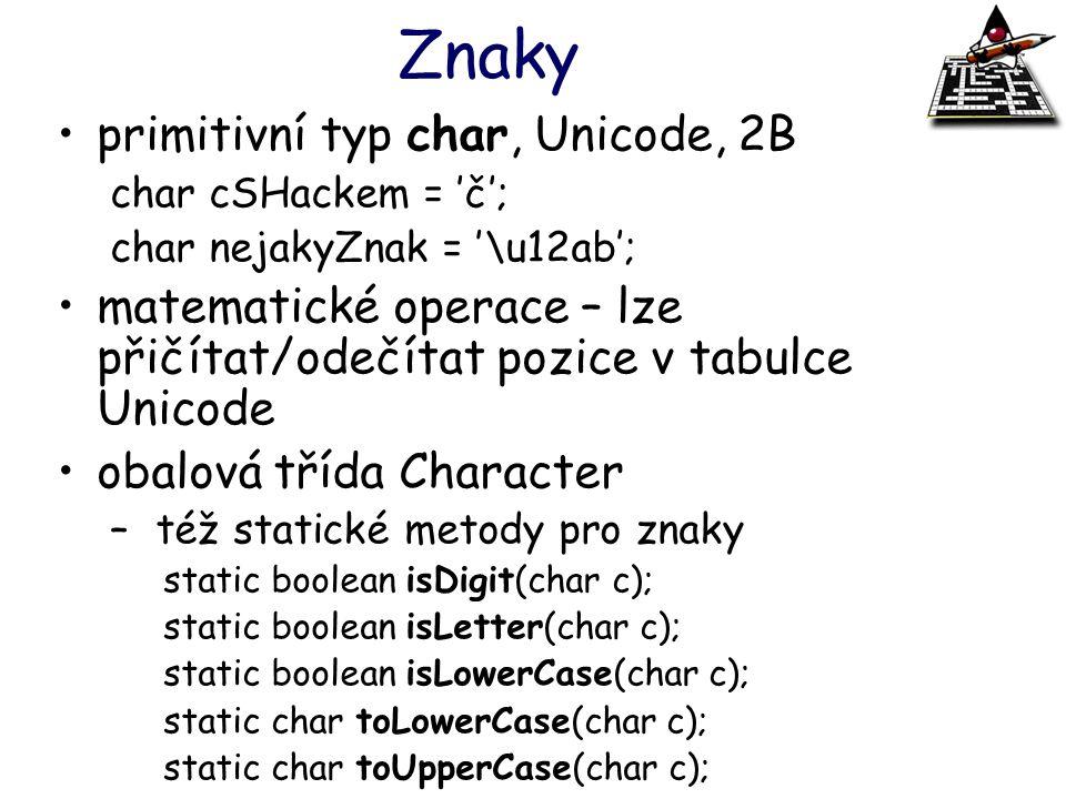 Znaky primitivní typ char, Unicode, 2B