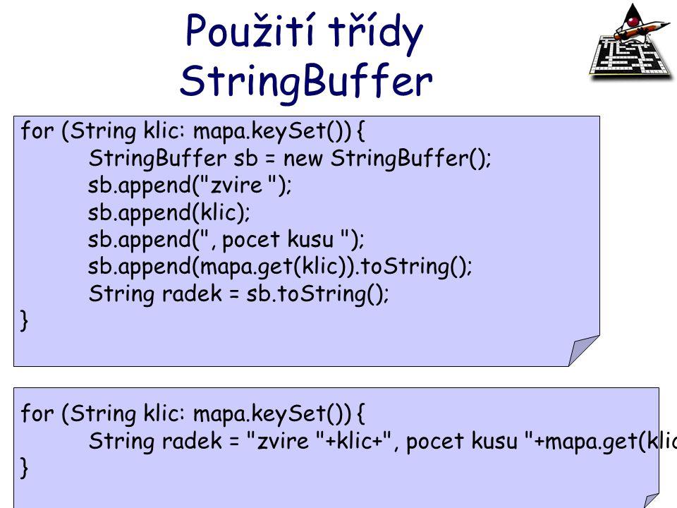 Použití třídy StringBuffer