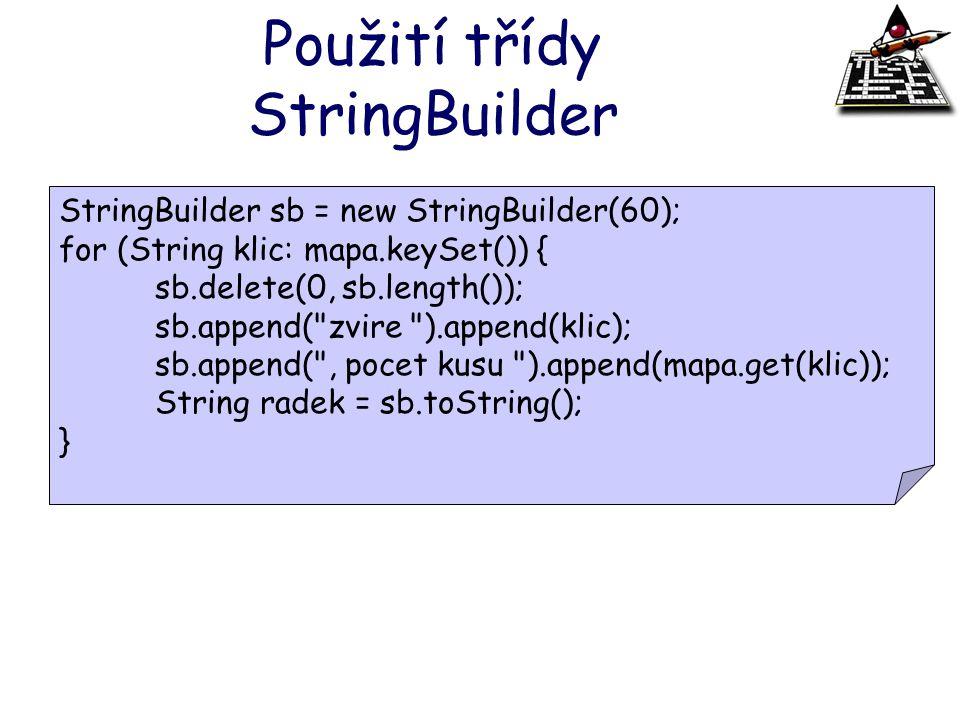 Použití třídy StringBuilder