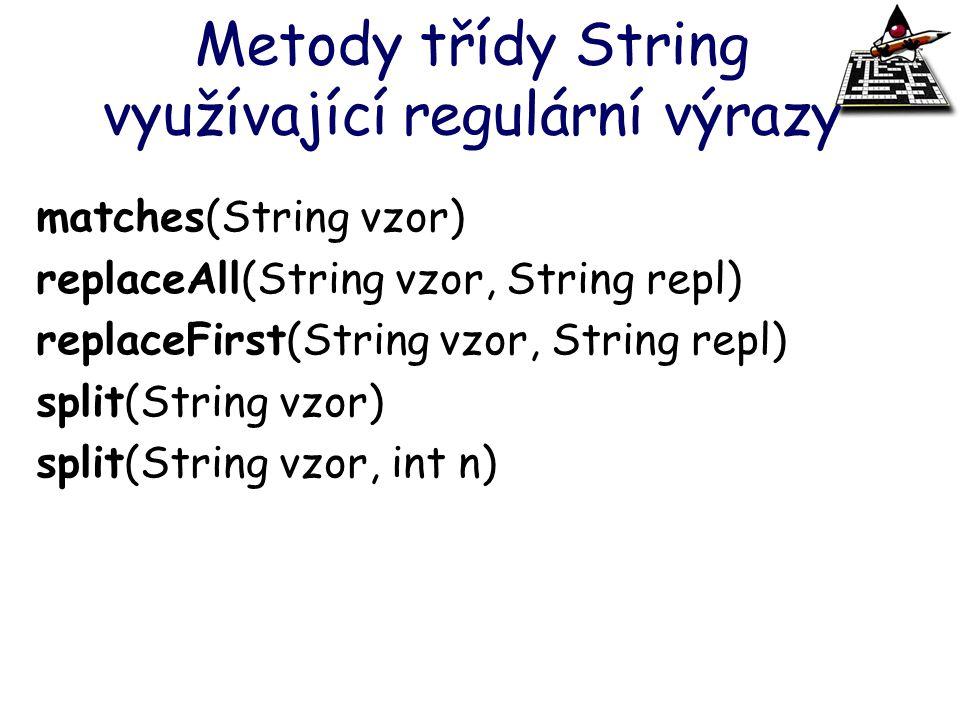 Metody třídy String využívající regulární výrazy