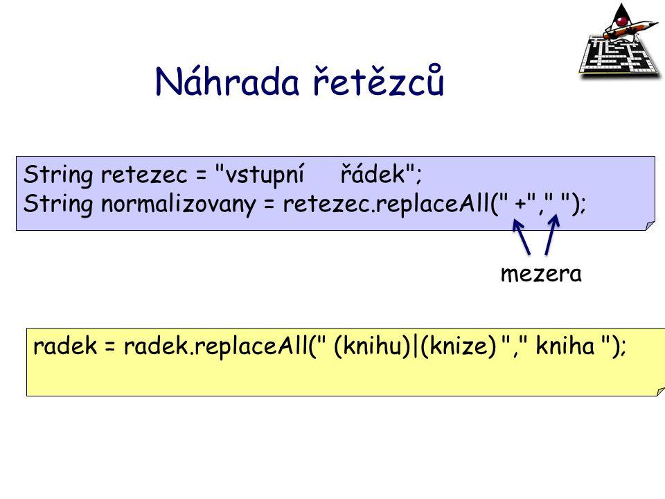 Náhrada řetězců String retezec = vstupní řádek ;