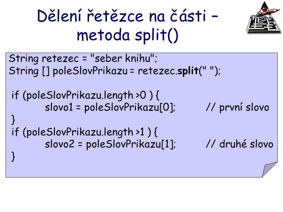 Dělení řetězce na části – metoda split()