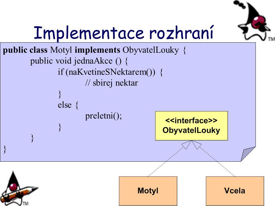 Implementace rozhraní