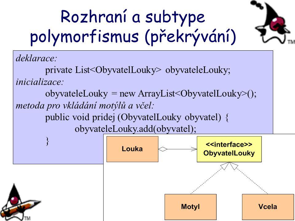 Rozhraní a subtype polymorfismus (překrývání)