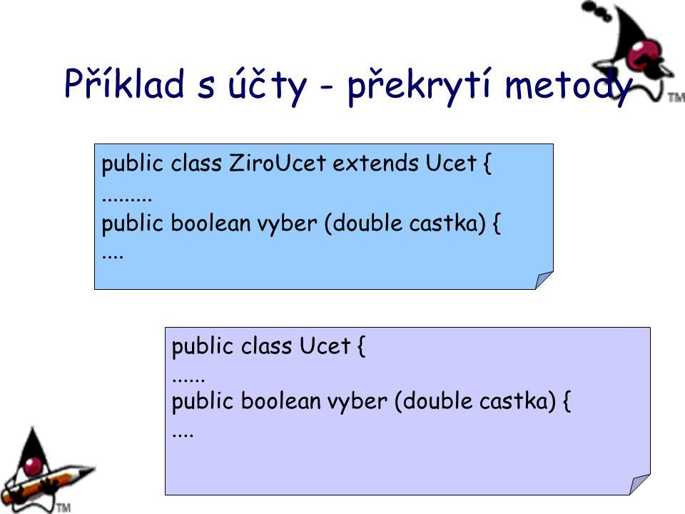 Příklad s účty - překrytí metody
