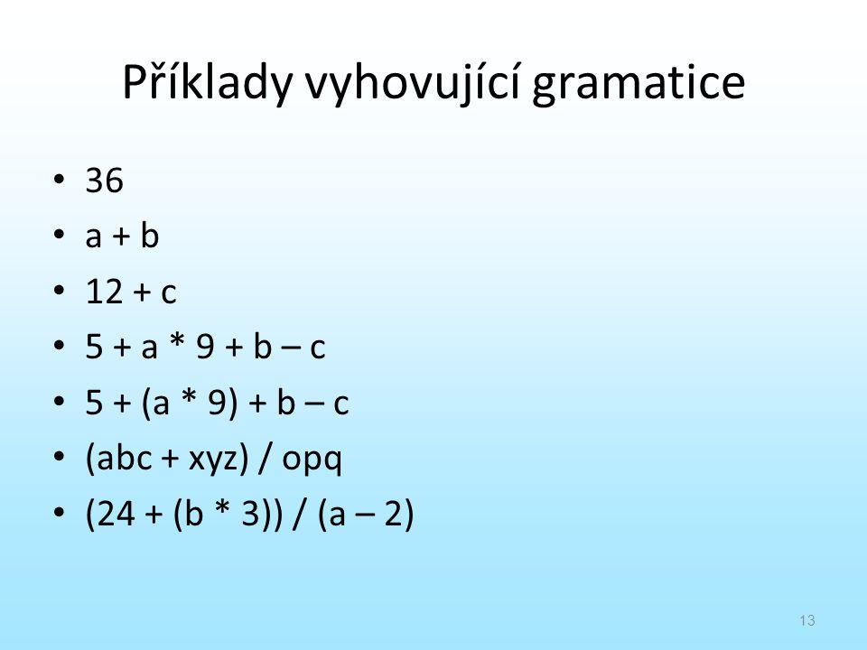Příklady vyhovující gramatice
