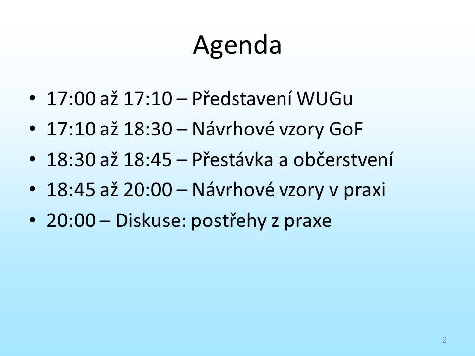 Agenda 17:00 až 17:10 – Představení WUGu