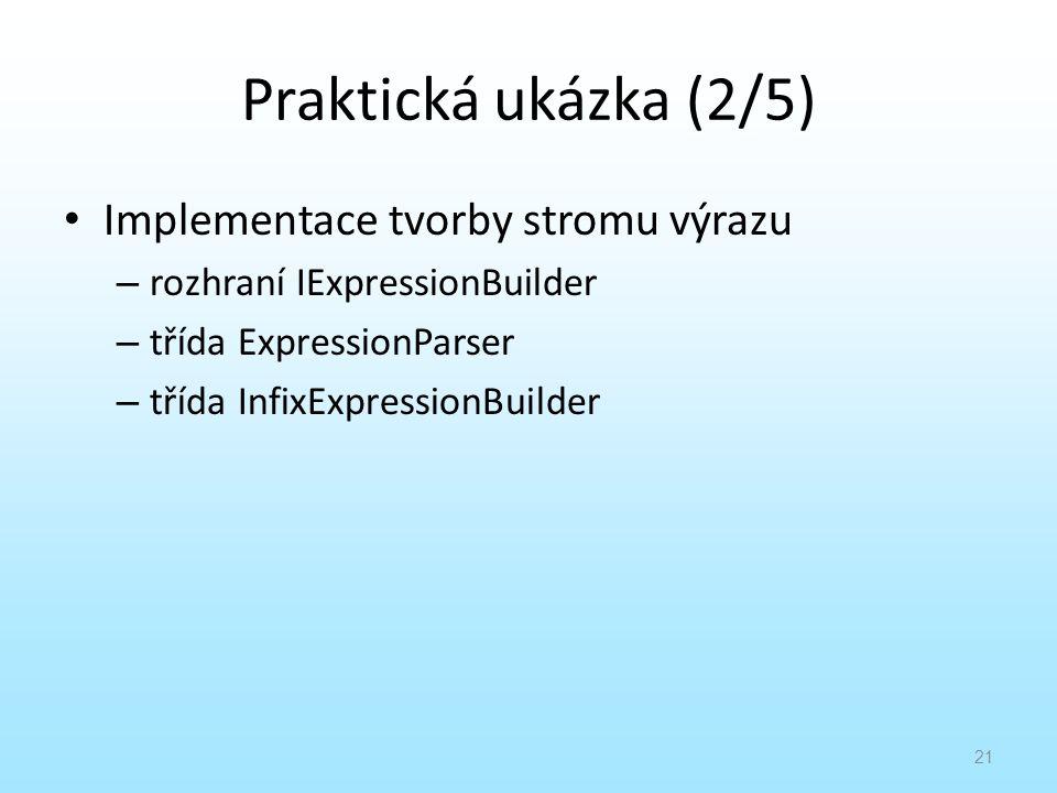 Praktická ukázka (2/5) Implementace tvorby stromu výrazu