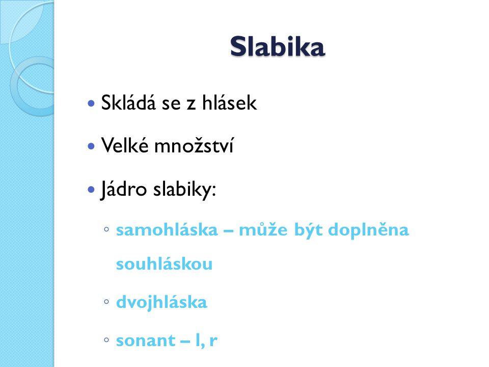 Slabika Skládá se z hlásek Velké množství Jádro slabiky: