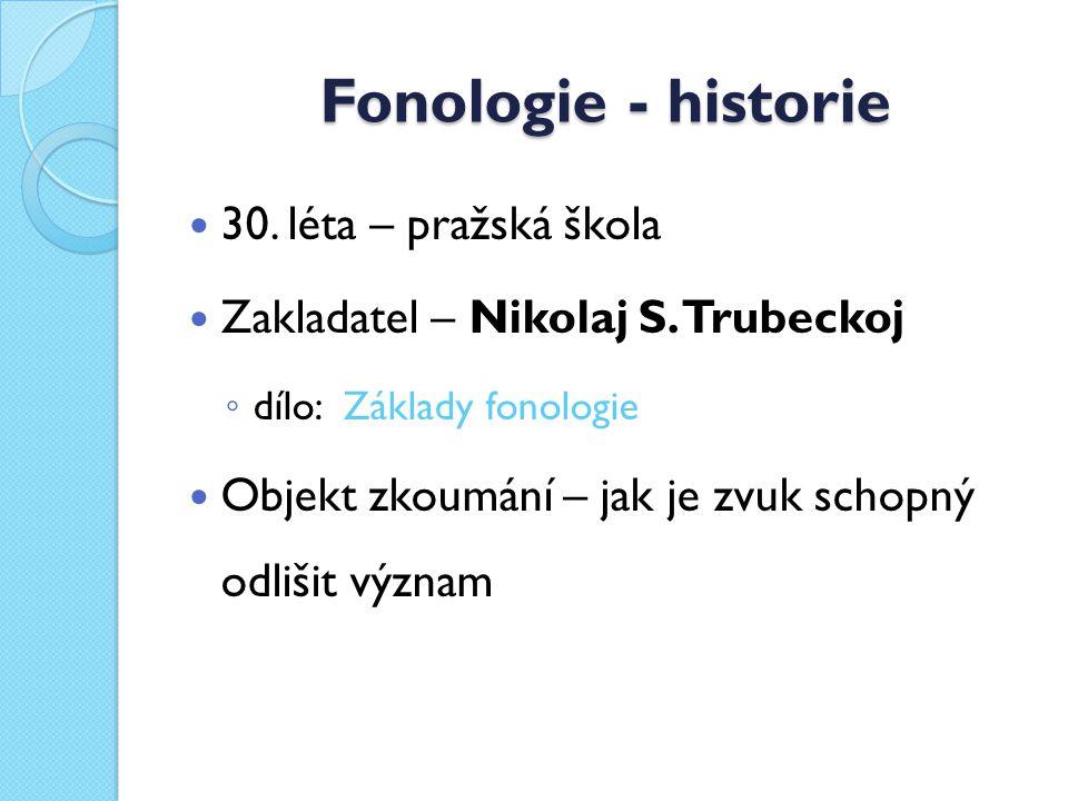 Fonologie - historie 30. léta – pražská škola