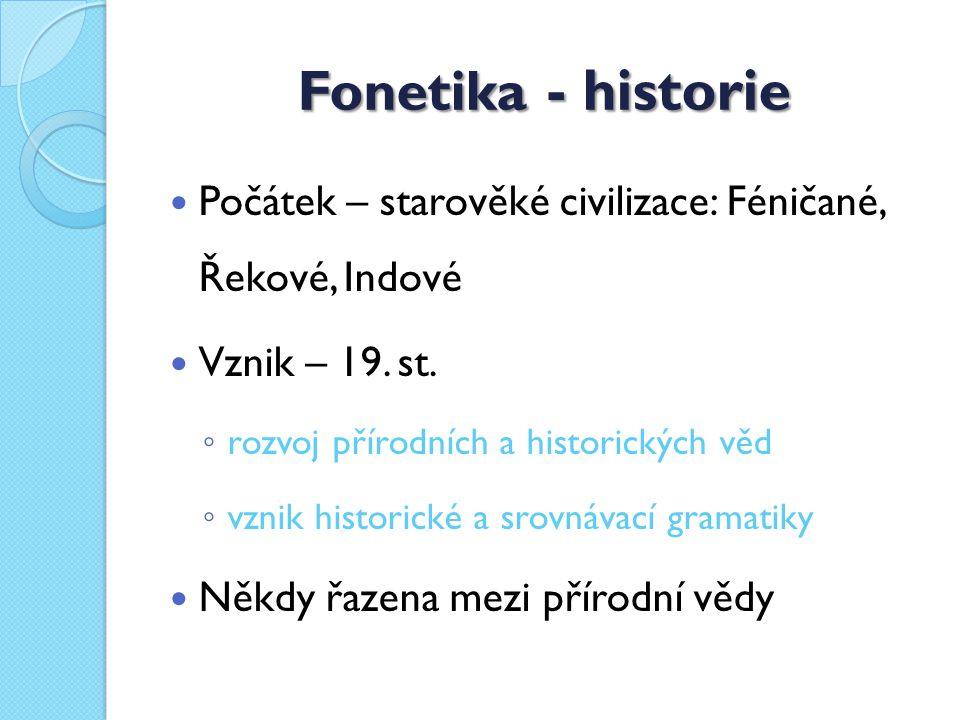 Fonetika - historie Počátek – starověké civilizace: Féničané, Řekové, Indové. Vznik – 19. st. rozvoj přírodních a historických věd.