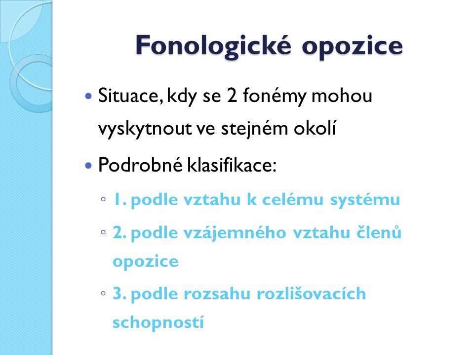 Fonologické opozice Situace, kdy se 2 fonémy mohou vyskytnout ve stejném okolí. Podrobné klasifikace: