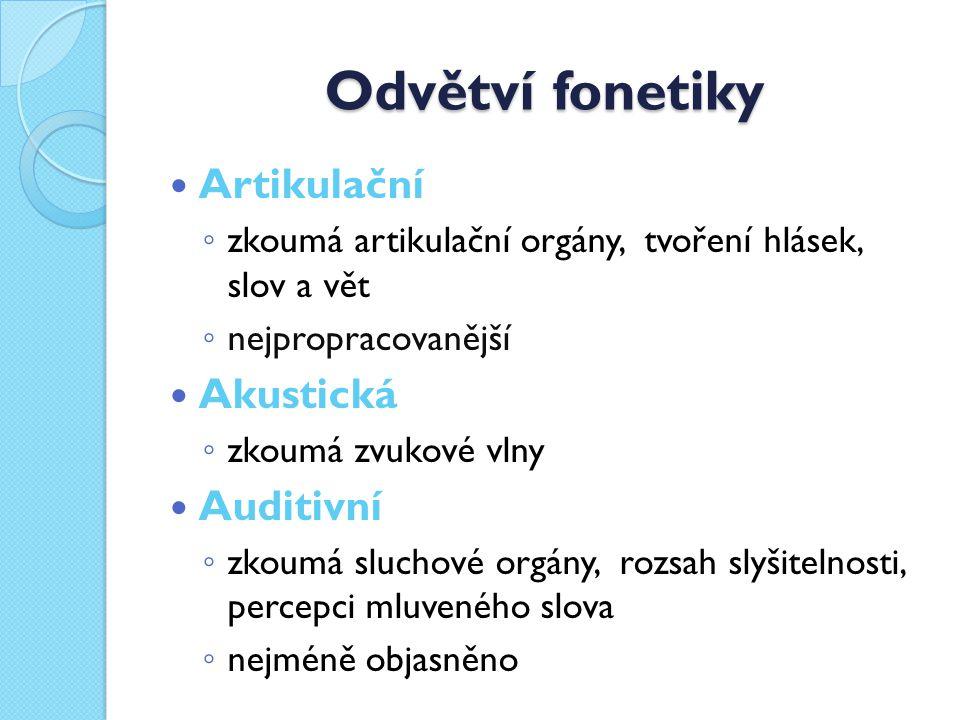Odvětví fonetiky Artikulační Akustická Auditivní
