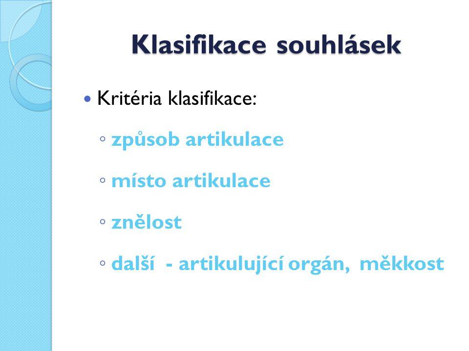 Klasifikace souhlásek