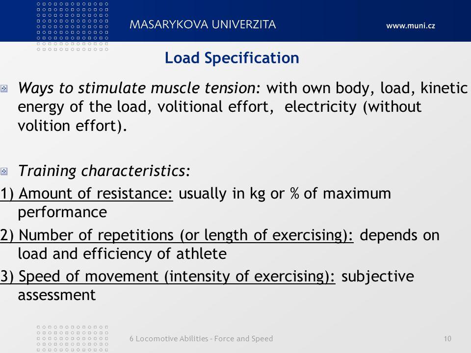 Training characteristics: