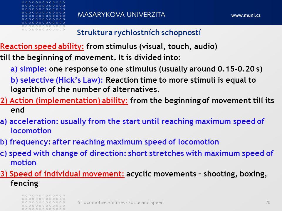 Struktura rychlostních schopností