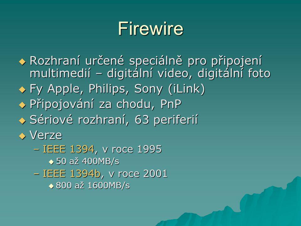 Firewire Rozhraní určené speciálně pro připojení multimedií – digitální video, digitální foto. Fy Apple, Philips, Sony (iLink)