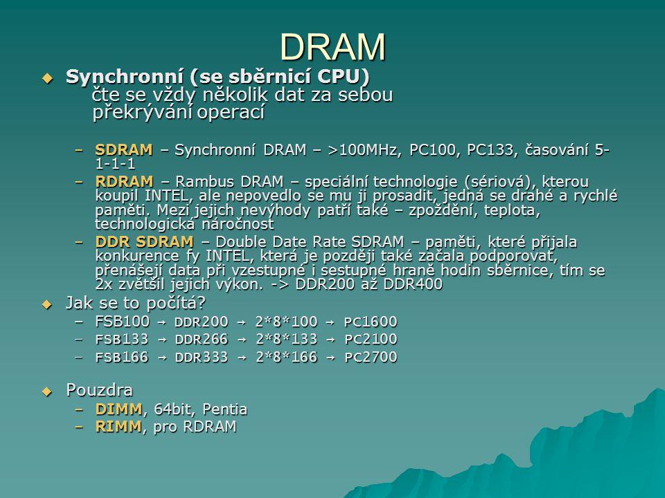 DRAM Synchronní (se sběrnicí CPU) čte se vždy několik dat za sebou překrývání operací.