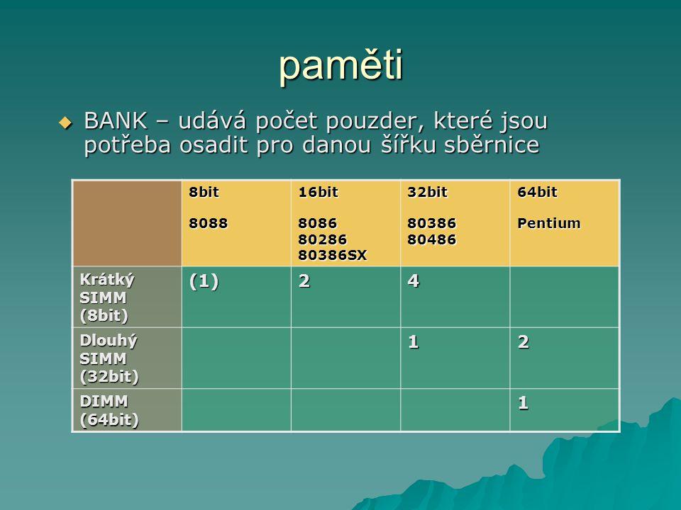 paměti BANK – udává počet pouzder, které jsou potřeba osadit pro danou šířku sběrnice. 8bit 8088.