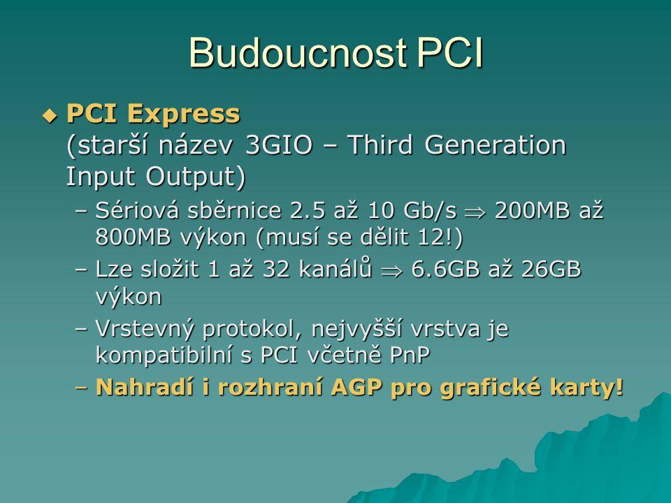 Budoucnost PCI PCI Express (starší název 3GIO – Third Generation Input Output)