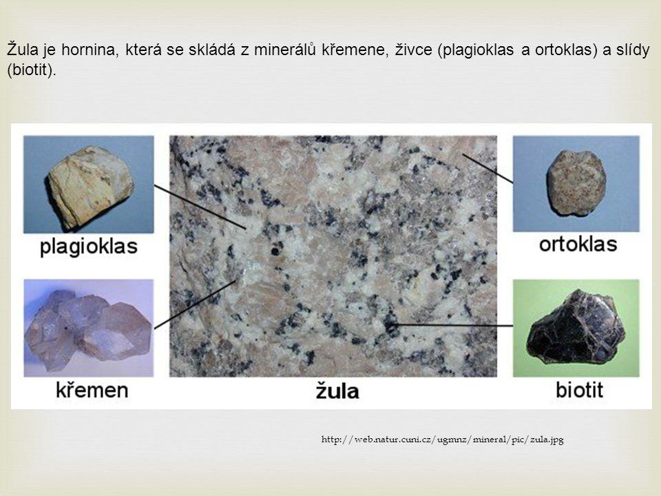 Žula je hornina, která se skládá z minerálů křemene, živce (plagioklas a ortoklas) a slídy (biotit).