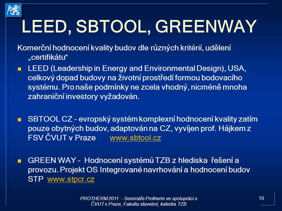 """prof.Karel Kabele LEED, SBTOOL, GREENWAY. Komerční hodnocení kvality budov dle různých kritérií, udělení """"certifikátu"""