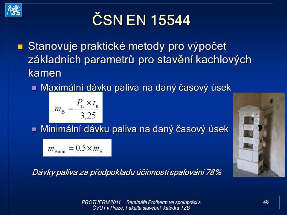 ČSN EN 15544 Stanovuje praktické metody pro výpočet základních parametrů pro stavění kachlových kamen.