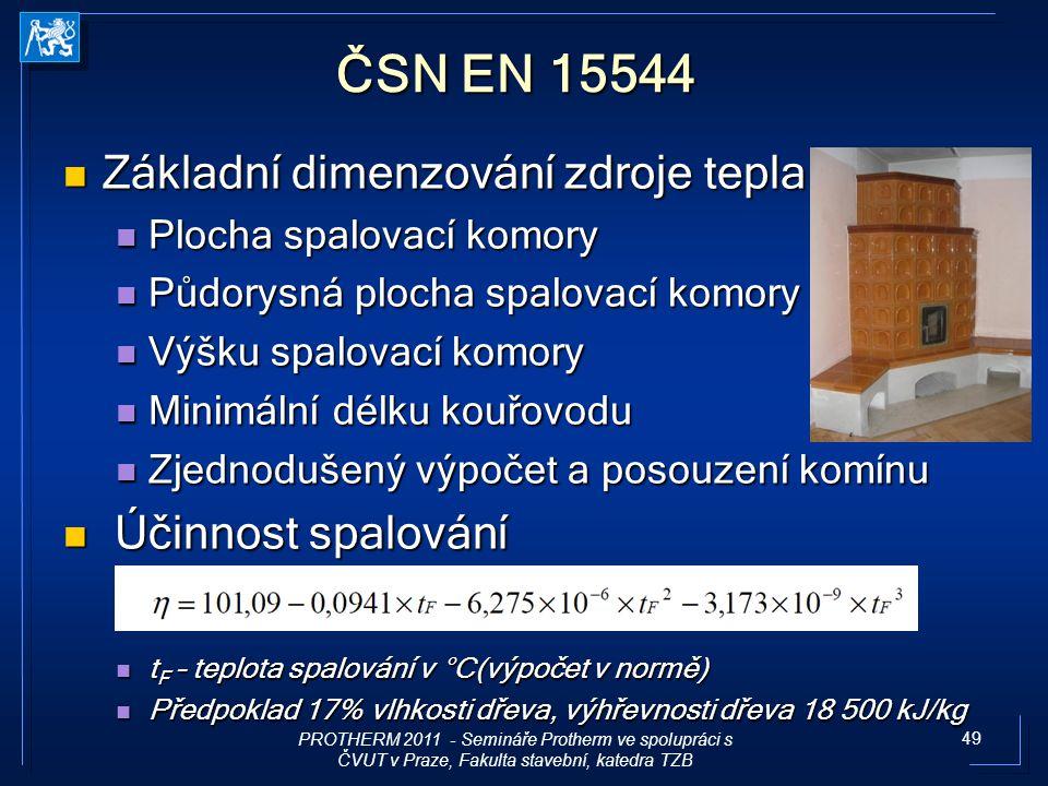 ČSN EN 15544 Základní dimenzování zdroje tepla Účinnost spalování