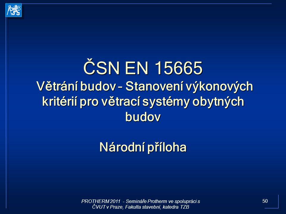 ČSN EN 15665 Větrání budov – Stanovení výkonových kritérií pro větrací systémy obytných budov Národní příloha