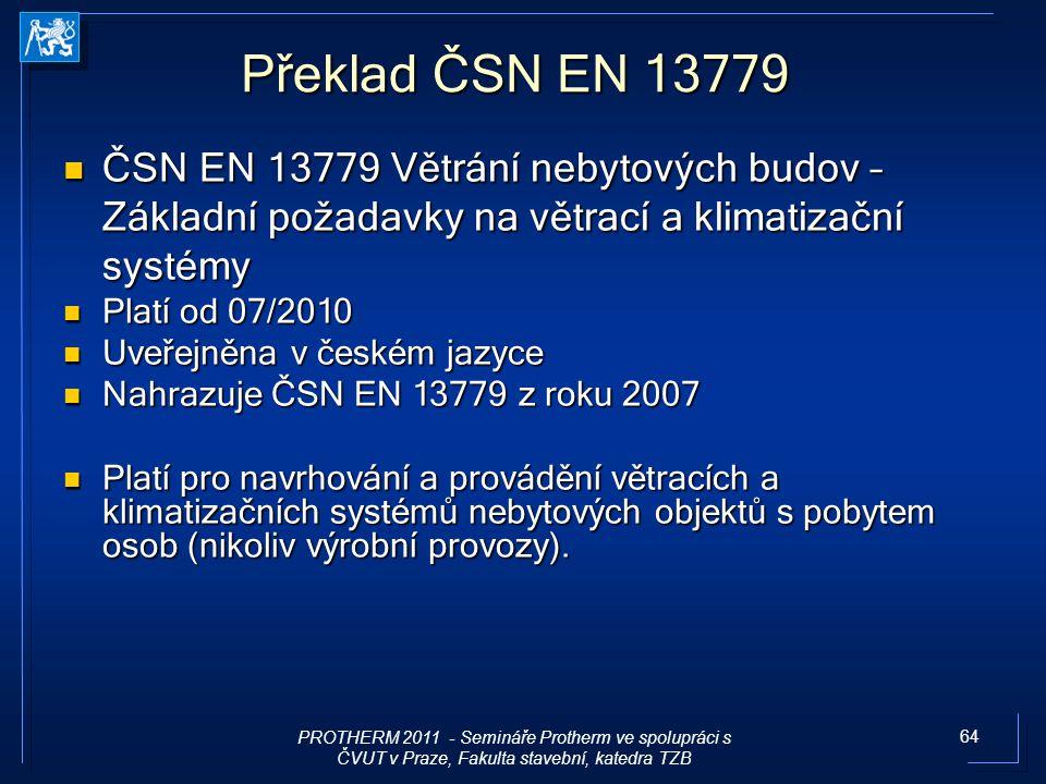 Překlad ČSN EN 13779 ČSN EN 13779 Větrání nebytových budov – Základní požadavky na větrací a klimatizační systémy.