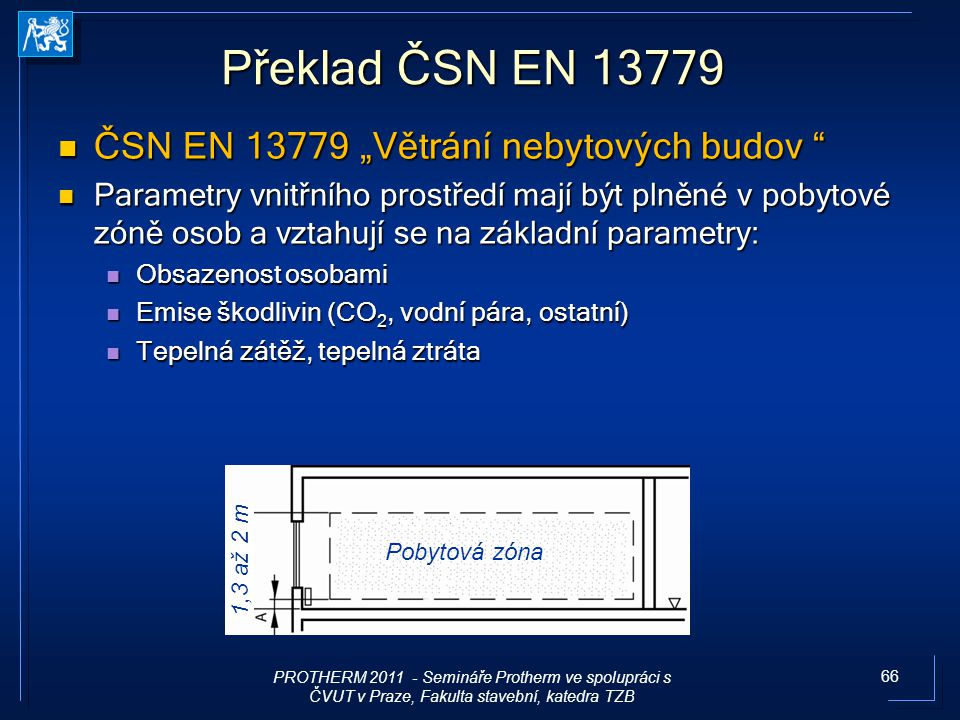 """Překlad ČSN EN 13779 ČSN EN 13779 """"Větrání nebytových budov"""