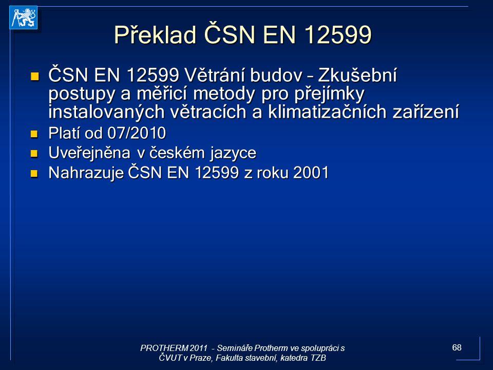 Překlad ČSN EN 12599 ČSN EN 12599 Větrání budov – Zkušební postupy a měřicí metody pro přejímky instalovaných větracích a klimatizačních zařízení.