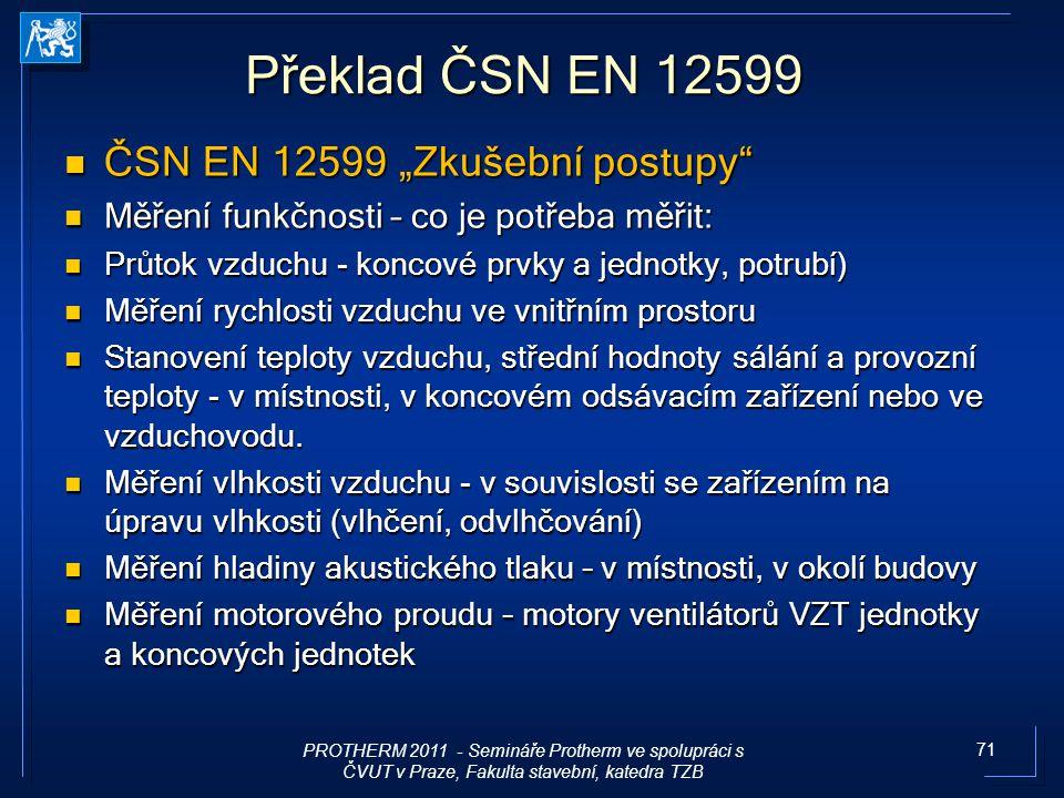 """Překlad ČSN EN 12599 ČSN EN 12599 """"Zkušební postupy"""