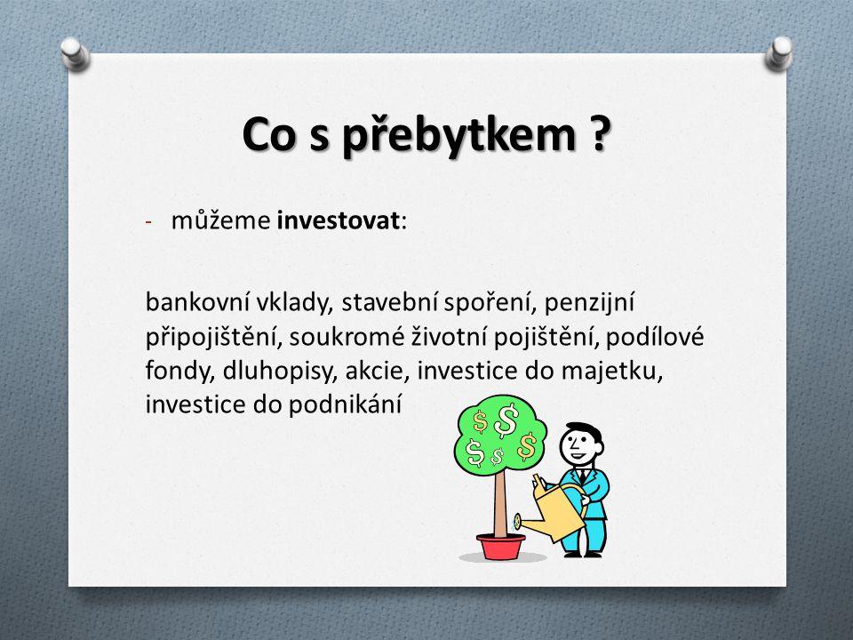 Co s přebytkem můžeme investovat: